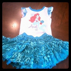 The Little Mermaid onesie and tutu. Size 6-9 mos.